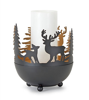 CANDLE HOLDER DEER AND TREE