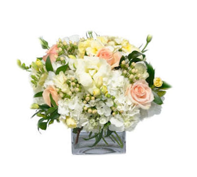 floral mix with pastel roses freesia & hydrangea
