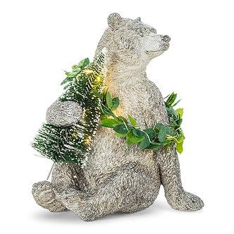 FIGURINE BEAR W/TREE & LED WREATH