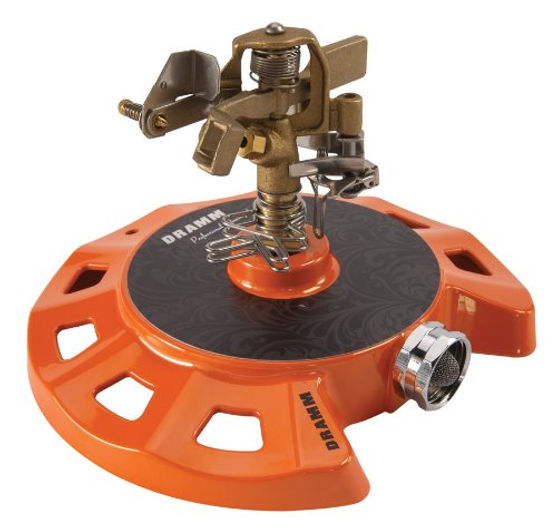 Dramm 15082 Circular Base Impulse Sprinkler with a Heavy-Duty Metal Base  Orange