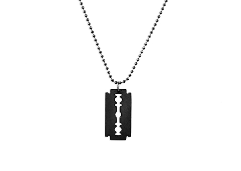 MD Razor Blade Necklace (Black)