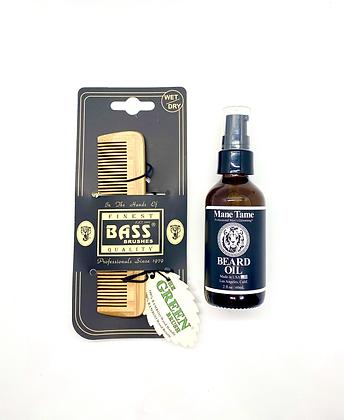 Mane Tame Beard Oil 2oz & Bamboo Brush