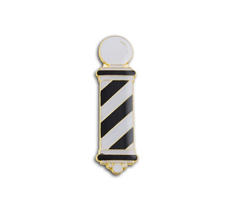 BARBER POLE LAPEL PIN (BLACK & WHITE)