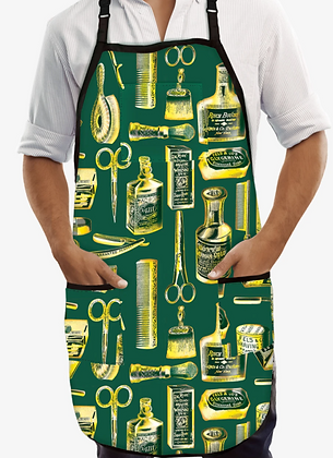 Betty Dain Vintage Gold/Green Barber Apron
