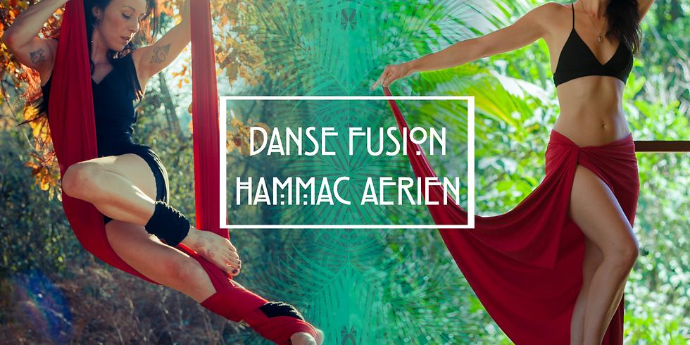 Danse tribal fusion & aérienne sur hamac avec Haza & Karine.