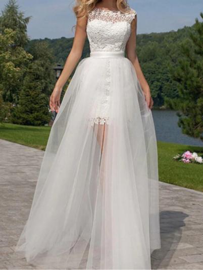 EA184 Detachable train Sweet short lace wedding gown