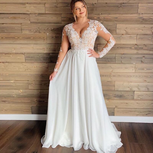 EA151 Aline V-neck button up Sexy Back Wedding Gown