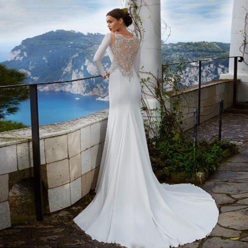 EA163 Elegant Boat neck Mermaid Style Beaded Back Wedding Gown