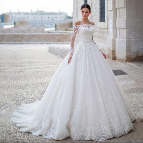 EA165 Elegant Princess Off Shoulder Wedding Gown