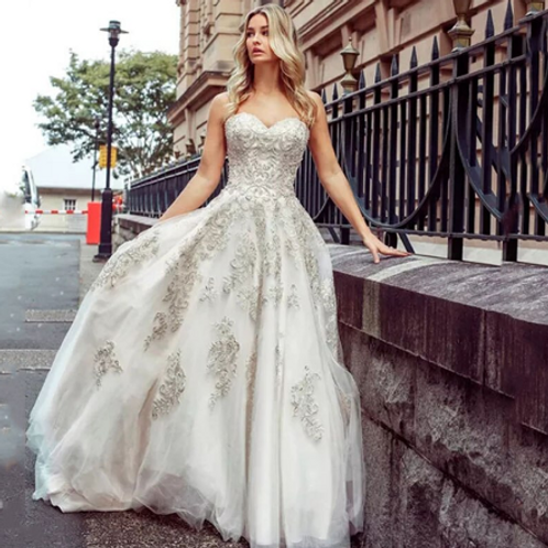 EA171 Royal Elegant Embroidered Wedding Gown