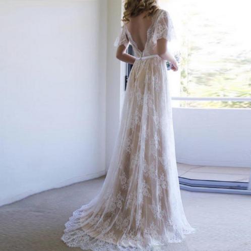 EA140 Romantic Rustic Champange Wedding Gown