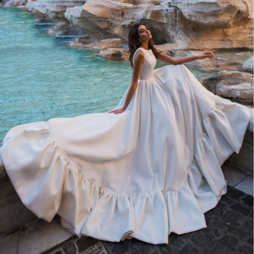 EA148 Romantic Satin A-line with Raffles Wedding gown