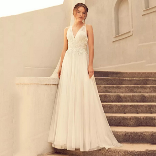 EA172 Boho Embroidered Cross back strap Wedding Gown