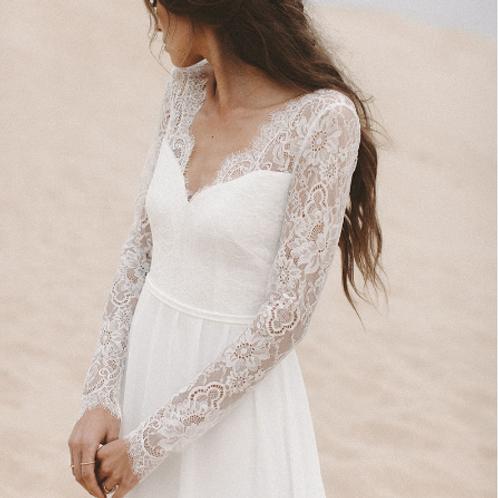 EA137 Long sleeve Lace Beach Wedding Gown