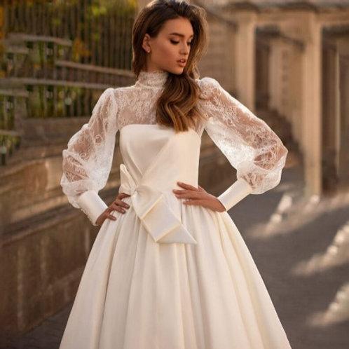 EA147 Two-wayLong Sleeve Satin Wedding Gown