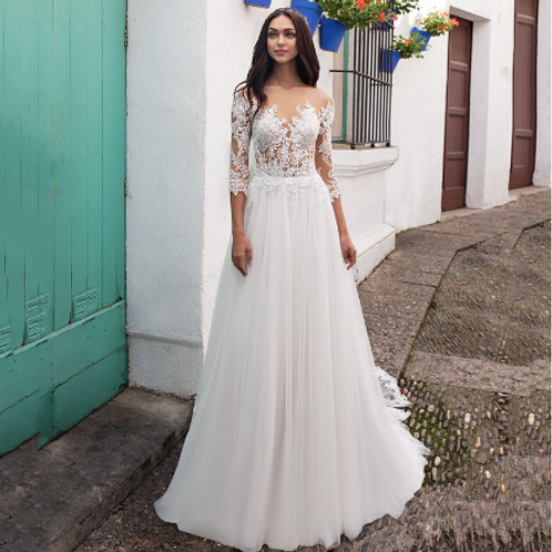 EA142 Romantic Sleeve Lace top Gown withtrain