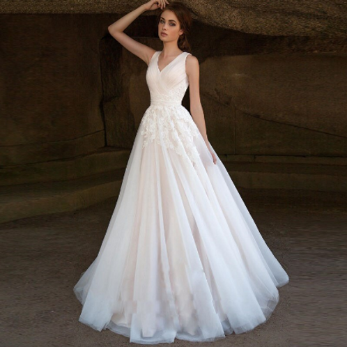 EA153 Sweet Puffy Sleeveless Lace Wedding Gown with Corset