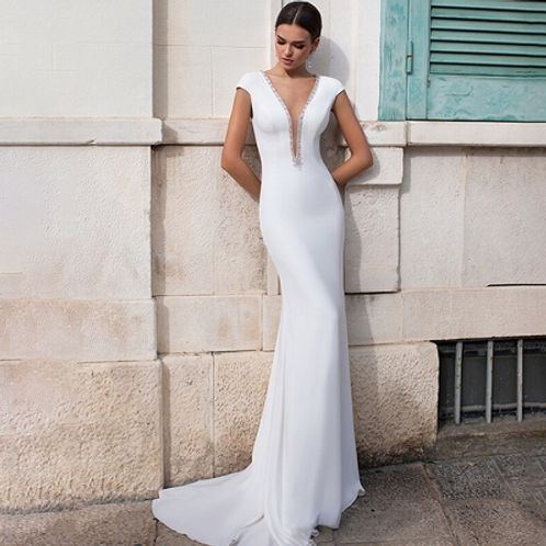 EA123 V-neck beaded satin wedding gown with pretty detail in the back