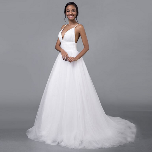 EA169 Simply Tulle V- Neck Backless Wedding Gown