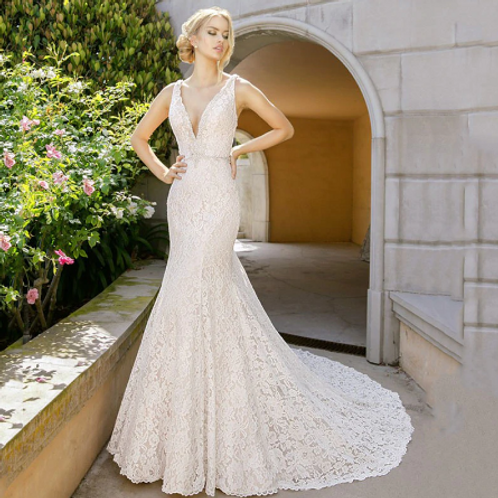 EA167 Precious V-neck Backless Lace Gown