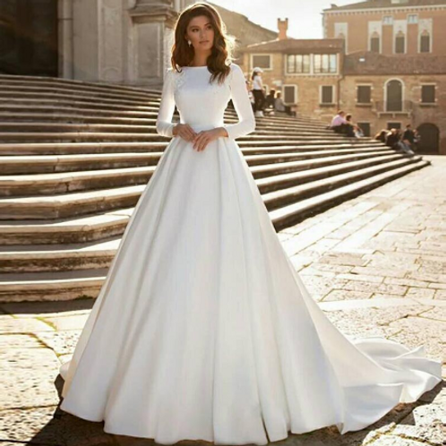 EA131 Royalty Satin Long Sleeve with Train Gown