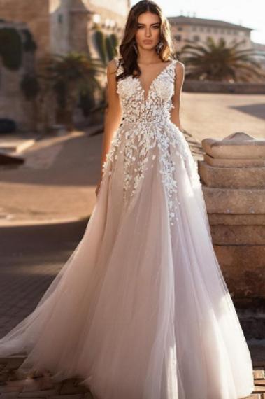 EA120 Aline Flowery Princess Backless V-neck gown