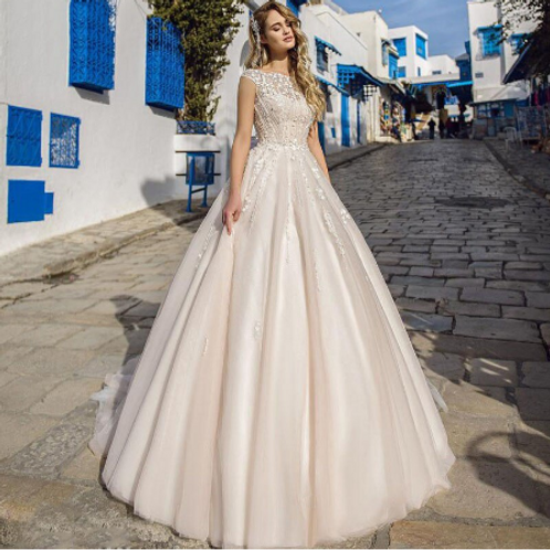 EA136 Princess Style Beaded Wedding Gown with Train