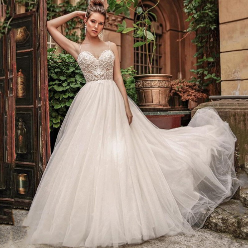 EA124 Sweet heart with Beaded spagetti straps Sexy Back wedding gown