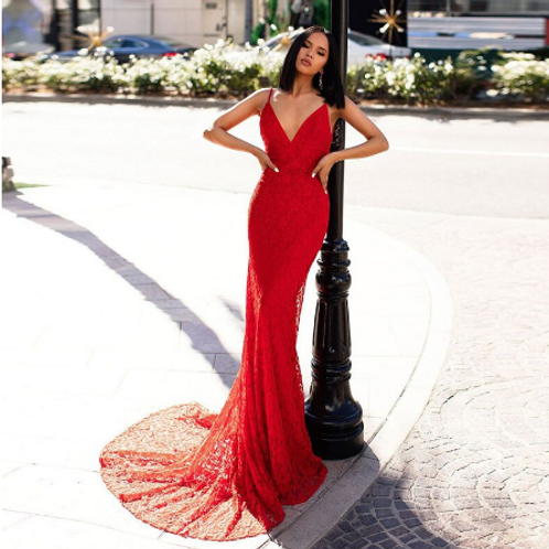 EA159 Sassy Spagetti Strap Backless Lace Prom Dress