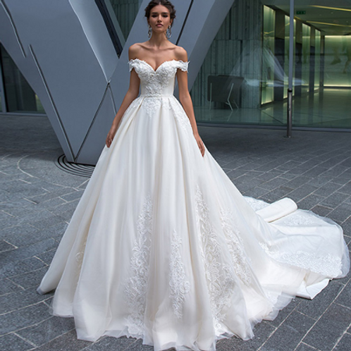 EA157 Gorgeous Off shoulder Beaded Lace Ball gown