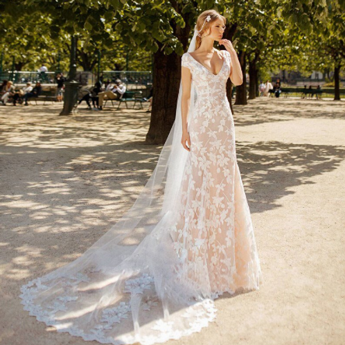 EA158 Precious Vintage Boho Lace Wedding Gown