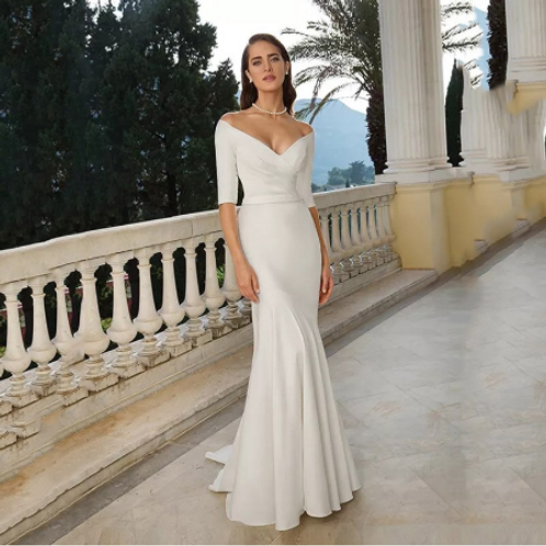 EA125 Chapel Mermaid style Off shoulder Satin Wedding gown with train