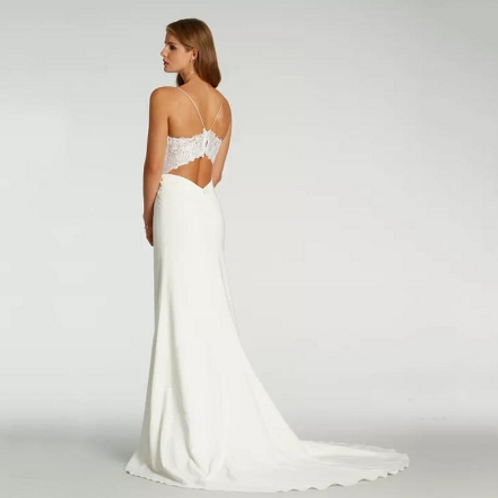 EA178 Sweet Boho Spagetti Strap Wedding Gown with Sweep train