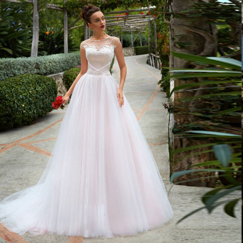 EA144 Romantic Heart Detail top Tulle Wedding Gown