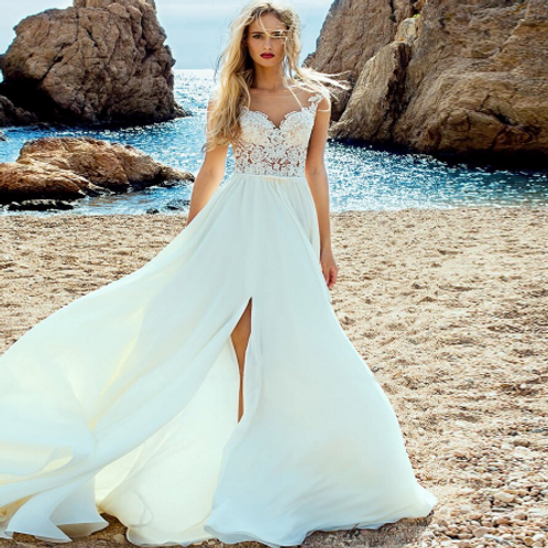 EA173 Beach BOHO Lace Wedding gown with a slid