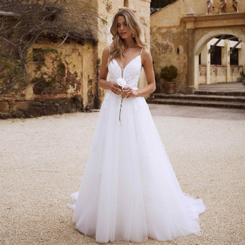 EA114 Angelic Lace gown with Spagetti starp with Long Train