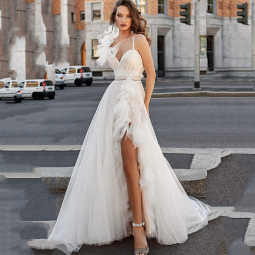 EA183 Sexy Fairy Spaghetti Strap wedding gown