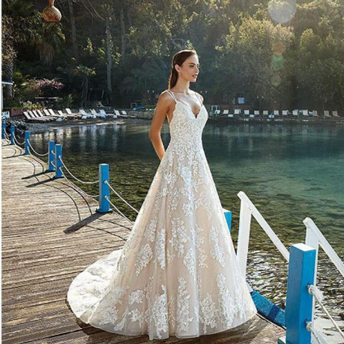 EA127 A-line Rustic Beaded straps Lace Wedding gown