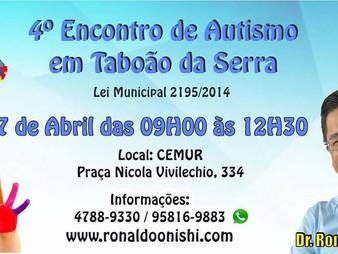 Lei do vereador Dr. Ronaldo Onishi garante realização do 4ª edição da Semana do Autismo em Taboão