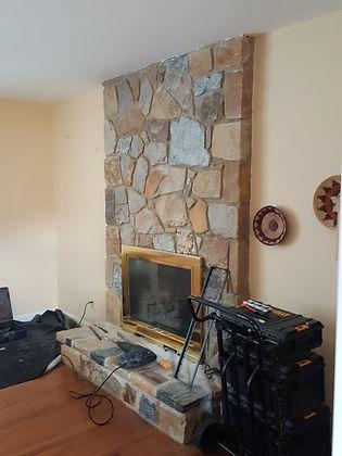 Stone Fireplace Pre TV Installation