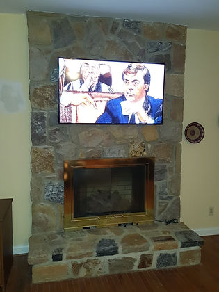 Stone Fireplace After TV Install