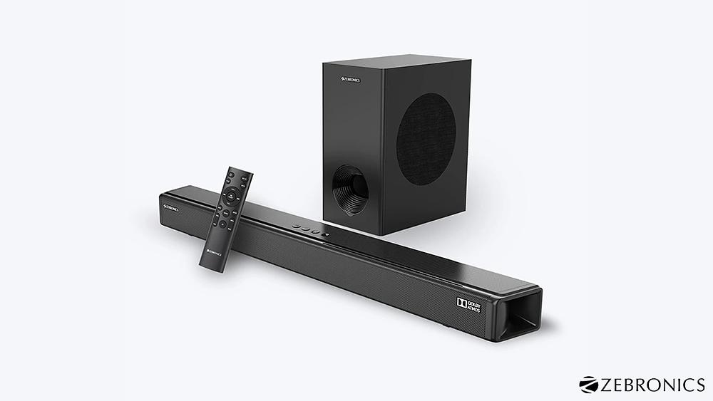 Zebronics Zeb-Juke Bar 9800DWS Pro Dolby Atmos soundbar with woofer and remote.