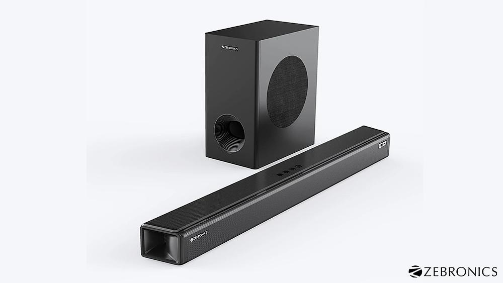 Zebronics Zeb-Juke Bar 9800DWS Pro Dolby Atmos soundbar and woofer.