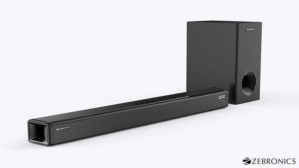 Zebronics Zeb-Juke Bar 9800DWS Pro Dolby Atmos soundbar with wireless subwoofer.