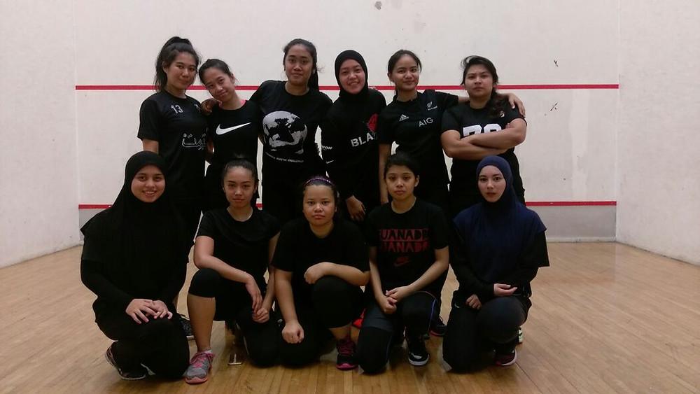 LCB Female team: Panthers A and B  (Top L to R) Abel, Rabbie, Qas, Aflah, Bilah, Kala (Bottom L to R) Ekah, Matun, Meera, Nad, Pong