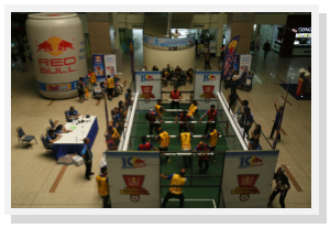 Eagle view of the Foosball arena at the launching ceremony, Airport Mall (Source: Hisyam Latif)
