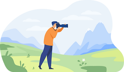 Happy travel photographer taking picture of nature.png