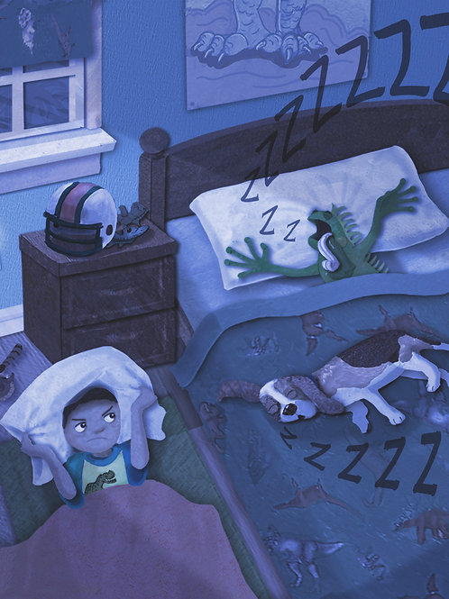 Art Print (matted) - There's an Iguana in My Bed!