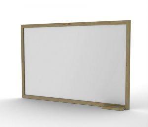 לוח מחיק לבן עם מסגרת עץ