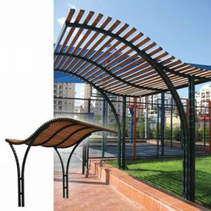 Wooden pergola with metal combination